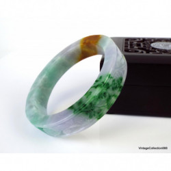 Jadeite Jade Bangle Fei Cui 翡翠 Green and lavender light hand carved 57 mm P3726