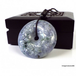 Jadeite Jade Bangle Fei Cui 翡翠 Green and white hand carved 59 mm P4133