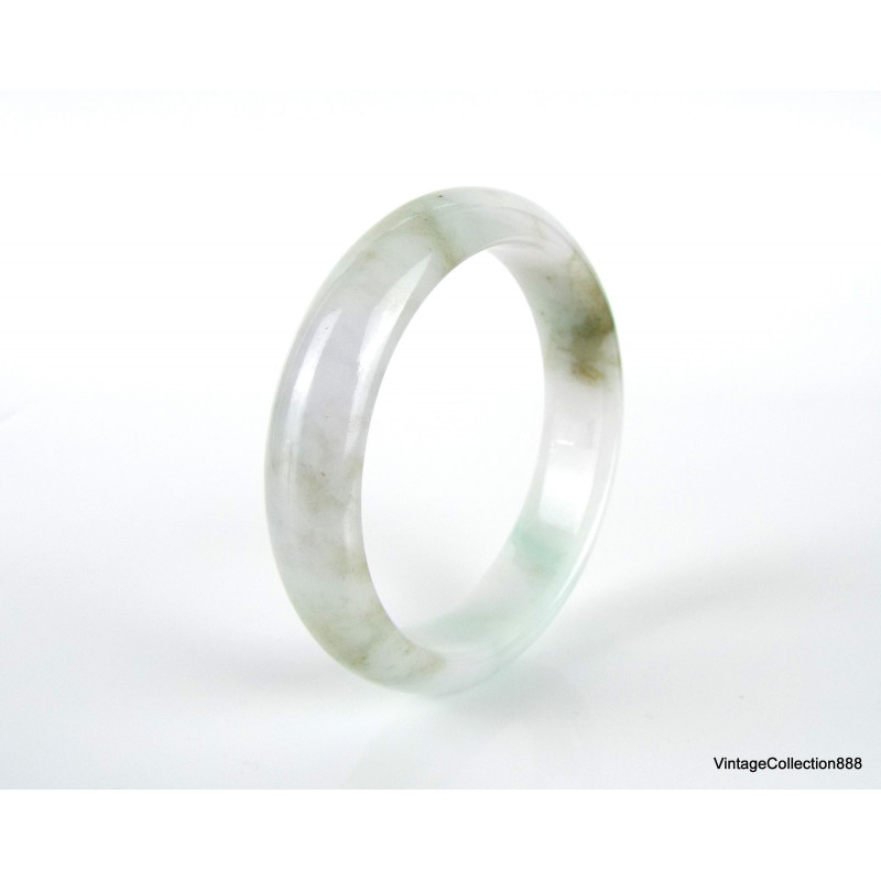 Natural Jadeite Jade Ring ( Grade A ) translucent white with spinach green spots, Size US 10.25. LK220