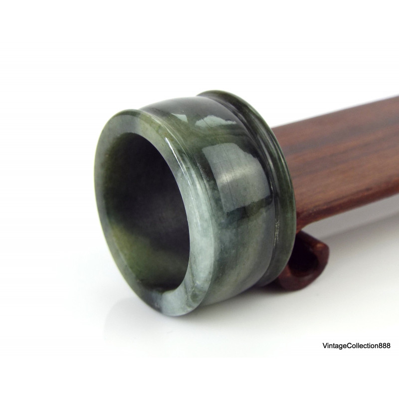 "Natural Jadeite Jade bangle ""Grade A"" Dark Green 58 mm-2.28"" - WH314 - with Sterling Silver Butterfly, Jet and red Coral"