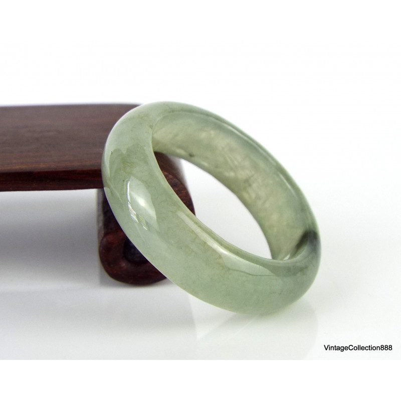 Natural Jadeite Jade Ring (A Grade) translucent green with brown US 13 JR130025