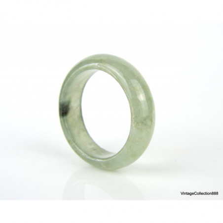 Natural Jadeite Jade Ring (Grade A) Untreated translucent green with brown US 12.5 JR125020